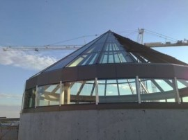 OliverMcMillan, developer of Buckhead Atlanta, took this photo of a glass rotunda being installed on top of the future Hermes store at the soon to open Buckhead Atlanta development.
