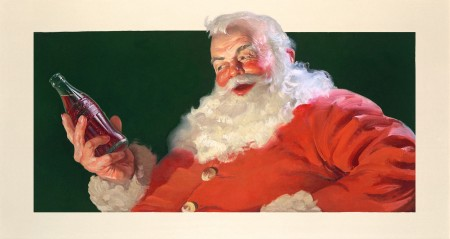 One of the Santa Claus paintings on display at the Oglethorpe University Museum of Art.