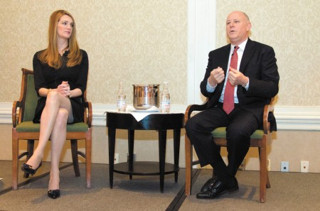 Amy I. Kahn Photography Kelly Loeffler, left, ICE senior vice president, with husband Jeff Sprecher, chairman and CEO, discuss their acquisition of the New York Stock Exchange at the Sandy Springs/Perimeter Chamber of Commerce annual meeting on Jan. 16.