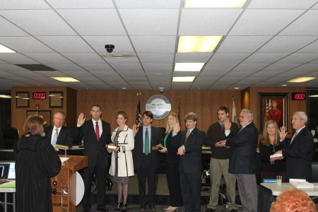 Members of Sandy Springs City Council are sworn in on Jan. 7 by Superior Judge Shawn Ellen LaGrua. Left to right are councilmen: John Paulson, Ken Dishman, Graham McDonald, Gabriel Sterling, Tibby DeJulio and Andy Bauman.