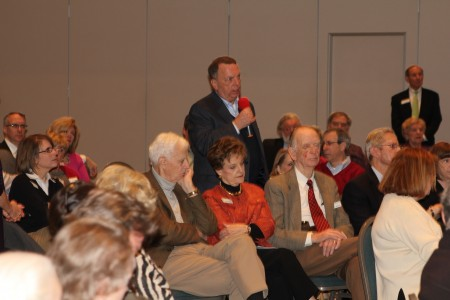 Rob Augustine of Dunwoody asks a question during a legislative forum Jan. 12 2014 at Dunwoody United Methodiist Church. Photo by Joe Earle