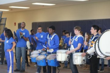 Students in the Chamblee Charter High School marching band perform at a ribbon cutting ceremony for the new school building Jan. 22.
