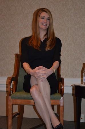 Kelly Loeffler, senior vice president of Sandy Springs- based IntercontinentalExchange, talks to members of the Sandy Springs/Perimeter Chamber of Commerce on Jan. 16, 2014.