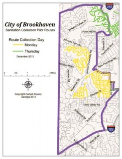 DeKalb County has selected neighborhoods in north and central Brookhaven to be part of a pilot program reducing garbage collection to once a week.