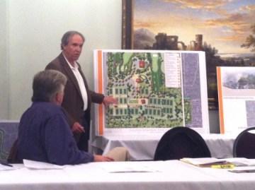 Atlanta Memorial Park Conservancy Vice-president Marty Elgison goes over the  master plan.