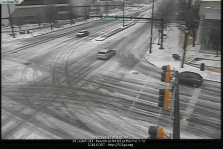The intersection of Peachtree and Piedmont roads
