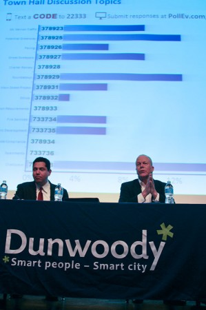 Dunwoody City Manager Warren Hutmacher, left, and Mayor Mike Davis talk to residents attending a 'town hall' meeting Feb. 20. The screen behind them shows a graph illustrating how attendees rated topics for discussion.