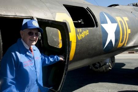 Albert McMahan exits the B-17 after a short flight Feb. 24 at  DeKalb-Peachtree Airport.