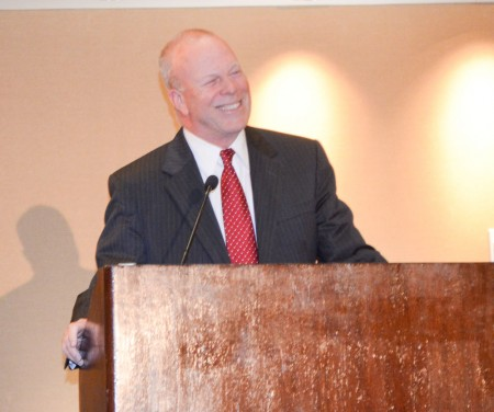 """Dunwoody Mayor Mike Davis delivers his 2014 """"State of the City"""" speech on March 6, 2014 at the Crowne Ravania hotel. Photo by Joe Earle"""