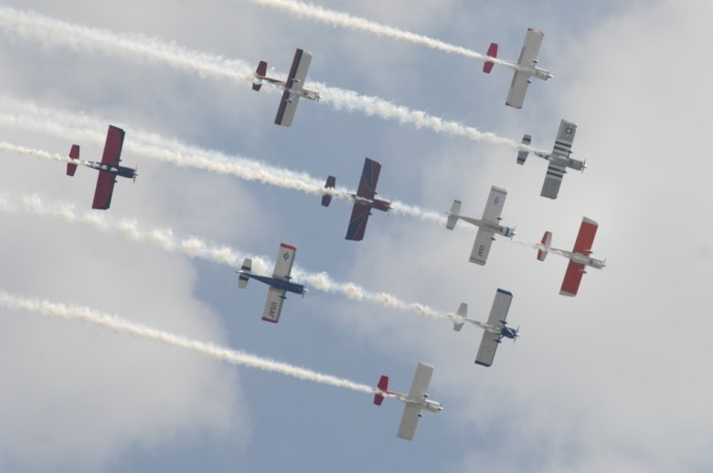 Aerobatic pilots fly in formation during the air show as part of DeKalb-Peachtree Airport's annual Good Neighbor Day open house.
