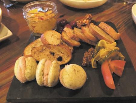 The mortadella mousse on Sicilian macarons.