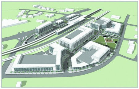 An artist's rendering of what a developed Brookhaven MARTA station might look like.