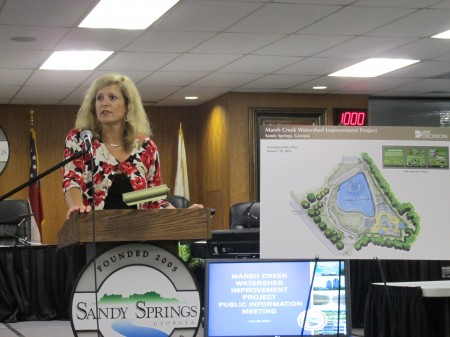 Sharon Izzo talks about Sandy Springs plans for a Marsh Creek water detention site.