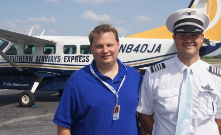 Southern Airways COO Keith Sisson, left, and Capt. Scott Honnoll, assistant chief pilot, at DeKalb-Peachtree Airport. The airline says unlike at Hartsfield-Jackson International Airport, there are no security lines and PDK offers free parking.