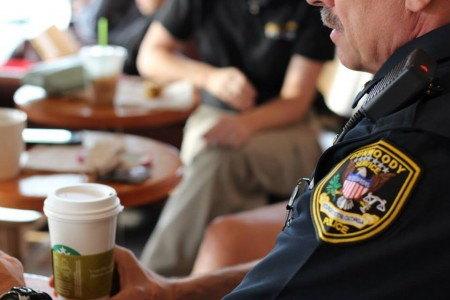 A Dunwoody police officer during a Coffee with a Cop event in 2014.
