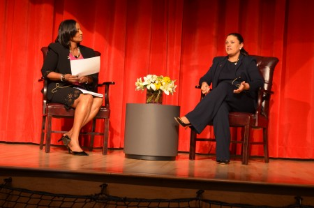 New Atlanta Public Schools Superintendent Meria Carstarphen answers questions presented by WXIA 11 Alive reporter Donna Lowry after the 'State of the Schools' speech on Sept. 9.