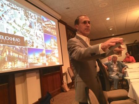 Buckhead Atlanta General Manager Michael Diamantides speaks to the Buckhead Council of Neighborhoods on Oct 9.