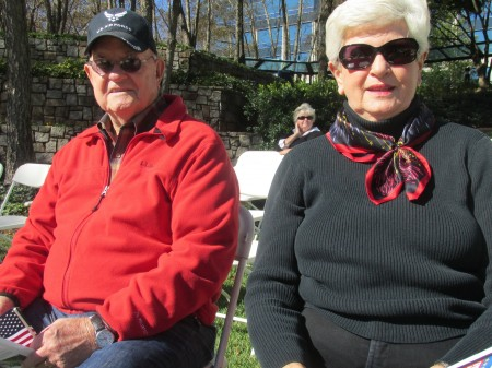 Sandy Springs residents Alan Burdett, a U.S. Air Force veteran, and his wife Billie Anne attend the Veterans Day ceremony at the Concourse in Sandy Springs.