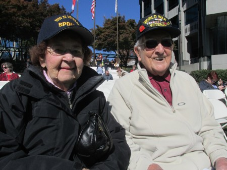 Bridget Kovach and her husband, Andrew Kovach, a World War II veteran, traveled from Bridgeport, Penn., to visit their daughter in Sandy Springs and attend the ceremony.