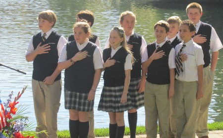 Students from Mount Vernon Presbyterian School led the Pledge of Allegiance at the Sandy Springs Veterans Day ceremony.