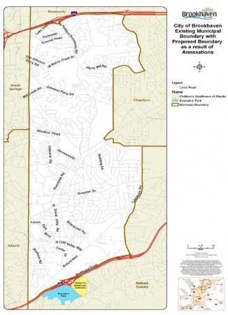 Executive Park (blue) and Children's Healthcare of Georgia (yellow) are requesting annexation into Brookhaven (white).