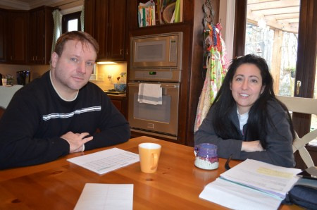 """""""Power couple"""" Stan Jester, left, and his wife Nancy meet at their kitchen table."""