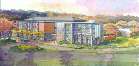 A rendering of the new Math, Science & Commons Building, which is scheduled to be open for the 2014-2015 academic year.