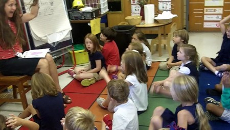 Laura Miltner teaches kindergarteners German during a language immersion program at Ashford Park Elementary.