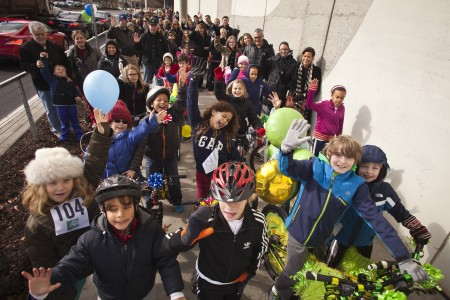 Cyclists paraded Jan. 24 to celebrate the public opening of the first segment of the  PATH400 trail.