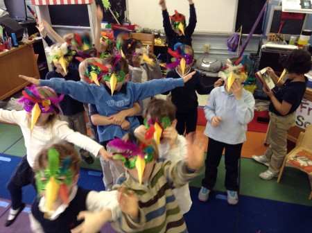 Kindergarten students enrolled in the German immersion program at Ashford Park Elementary School celebrate the country's Karneval, or Fasching, a pre-Lent festivity.