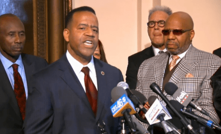Former Atlanta Fire Chief Kelvin Cochran addresses supporters at the Capitol on Jan. 13. (Courtesy CBS46)