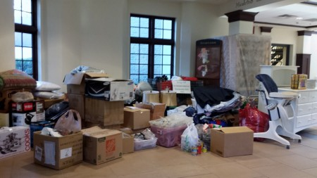 Some of the items donated for victims of a Jan. 27 fire at Dunwoody Glen Apartments by Dunwoody residents and local nonprofit groups.