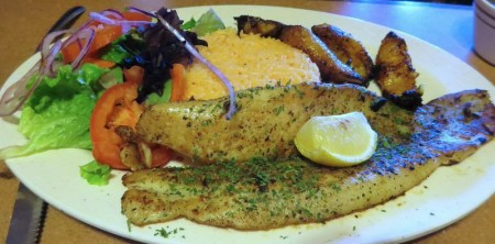 Papi's grilled fish with yellow rice.