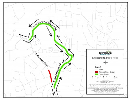 Traffic will be detoured due to the installation of stormwater and sanitary sewer pipes.
