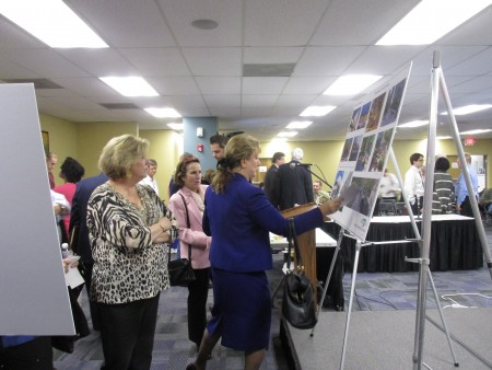 The city of Sandy Springs recently held an event at City Hall, encouraging residents to give feedback on the potential look of the City Center's development, after hearing a presentation from the site's developers and architects.