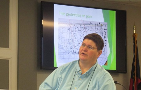 """City arborist Kay Evanovich said at a """"Brookhaven 101"""" workshop that the absence of a tree ordinance could result in reduced aesthetics, lower air quality, loss of wildlife habitat, property damage and loss of life."""