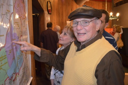Stan Mislow points out his home on the map of the propposed city of LaVista Hills.