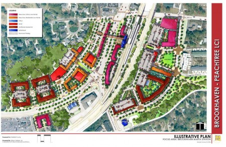 Plans call for a mix of shops, offices and homes --including 'affordable' housing - in a 'transit-oriented' development around the Brookhaven MARTA station.
