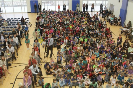 Hundreds of E. Rivers students, teachers, parents and alumni gathered to celebrate the new school building.