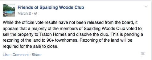 A March 2 post on the Friends of Spalding Woods Club Facebook Page.