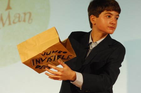 Ari Isenberg, 13, has been practicing magic since age 6, performing close-up magic such as card tricks. Photo by Phil Mosier.