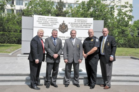 From left, Chief Gary Yandura, Brookhaven PD, Chief John King, Doraville PD, Chief Stacey Cotton, Covington PD, Keith Glass, director of Public Safety, Monroe PD, and Chief David Lyons, Garden City PD, exchanged basic information with their counterparts in the Republic of Georgia.