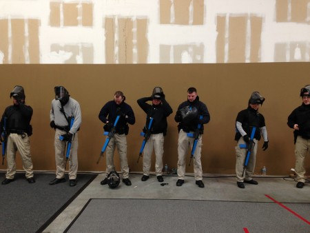 Sandy Springs police officers dress and prepare for active shooter scenarios.