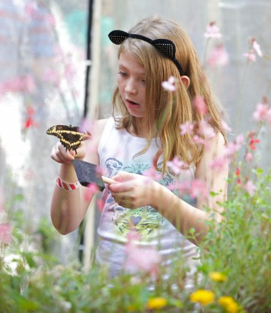 A young girl enjoys a visit from a live butterfly at the Dunwoody Nature Center.