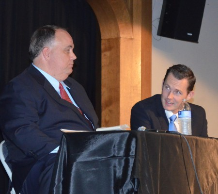 House District 80 candidates J. Max Davis, left, and Taylor Bennett chat before a forum at Oglethorpe University on Aug. 6.