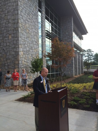 HIES Head of School Paul Barton spoke of HIES' growth during the formal opening of its new math, science and commons building on Aug. 21.