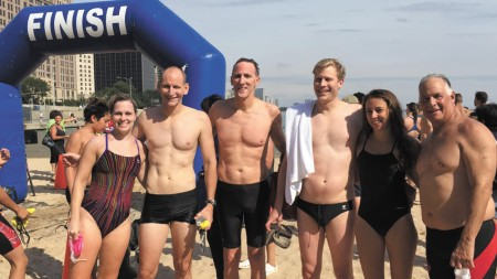 From left, swimmers Fran Romanchuck, Tommy McNeese, Jeff Frame, Wade Whittle, Laura Medrado and John Stanforth.