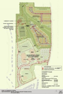 A plan of the Glenn West project, with the new housing and Mount Vernon Presbyterian School fields in the dark green area at the top. The existing school campus is in light green at the bottom. Glenridge Drive runs along the righthand side.