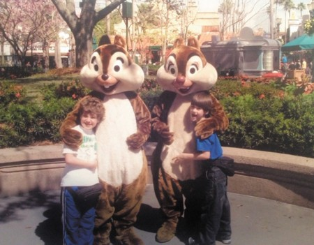 While Robin's children, Nick, left, and Michael, right, have fond memories of meeting Chip, left, and Dale, right, Robin's now has a different view of chipmunks.
