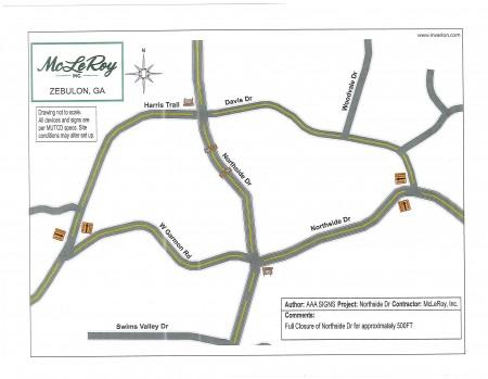 map of Northside Dr road closure